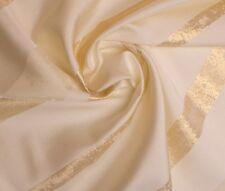Übergardinenstoff in Cream mit Breiten Goldenen streife