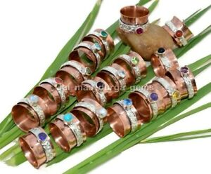 10 Pcs Turquoise Topaz Pearl Citrine Copper Silver Plated Tone Band Spinner Ring