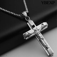 "20"" Mens 316L Stainless Steel Silver Cuban Jesus Cross Pendant Necklace Chain"