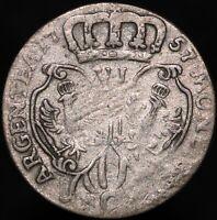 1757 C | German States Prussia Friedrich II 6 Groschen | Silver | KM Coins