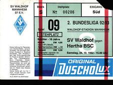 Ticket II. BL 92/93 SV Waldhof Mannheim - Hertha BSC, 24.10.1992