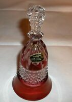 STUNNING CRYSTAL LEAD RUBY STAIN BELL MADE IN GERMANY DIAMOND DESIGN TAG