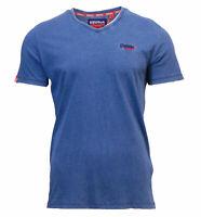 Superdry Mens New Orange Label Vintage Embroidered V Neck T Shirt Light Indigo