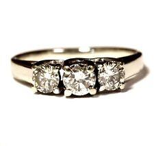 10k white gold .58ct SI1 round diamond 3-stone engagement ring wedding band 2.0g