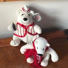 Lot of 2 Small White Plush COCA-COLA Advertising Polar Bears Stuffed Animals -
