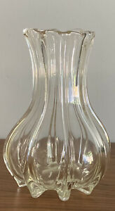Art Deco Clear Glass Vase 18 Cm Very Attractive Shape.