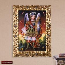 Archangel Michael Painting, Wall Art - Peru Folk Art- Gold Handcarved Wood Frame