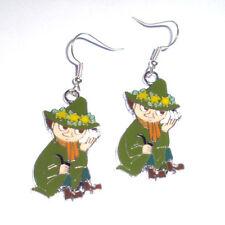 Kitsch Kawaii Enamel Moomin Troll Snuffkin Green Charm Earrings