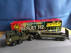 BERLIET T12 .Porte char. Réf 211. 1967.  Suspension. Boite originale.  Solido.