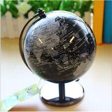 "Vintage Black World Map Globe Decorative Metal Desktop Rotate Geography Globe 5"""