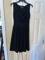 Lands' End Black Sleeveless Faux Wrap Dress Size XS 2/4