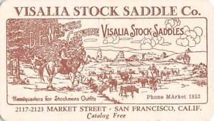 SAN FRANCISCO, CA, VISALIA STOCK SADDLE CO BUSINESS CARD WITH 1932 CALENDAR