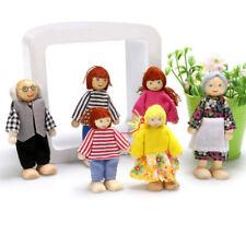 1:12 Puppenfamilie 6 Personen Puppenhaus Holzbiegepuppen Satz Kind Spielzeug