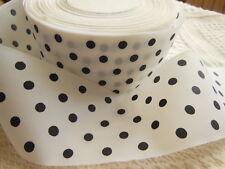 large ruban blanc à pois noir 3 mètres sur 5,1 cm