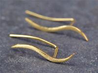 Silber Ohrstecker Vergoldet Golden Wellen Kurve Matt Schlicht Damen 925 Ohrringe