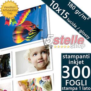 300 FOGLI CARTA FOTOGRAFICA A6 FOTO 10X15 GLOSSY LUCIDA 180 GR STAMPANTI INKJET