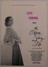 Lotte Lehmann vintage classical flyer Handbill Sf veterans Auditorium opera