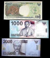 3 Indonesia Banknotes 1 x 500/1000/2000 Rupiah