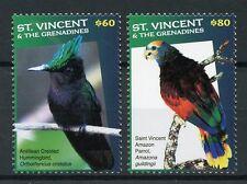 St Vincent & Gren 2017 MNH Birds High Value Defin 2v Hummingbirds Parrots Stamps