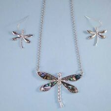 Aqua Pearl Abalone Silver Dragonfly NEW Pendant Necklace Set Chain USA Seller