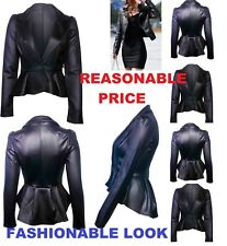UK Women Winter PU Leather Zip Biker Jacket Coat Motorcycle Jacket Outwear LthJk