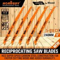 "9"" Reciprocating Saw Blades / 5 Piece Set Electric Wood Pruning 5TPI Saw Blades"