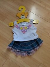 Build A Bear Clothes: Pink Purple And Yellow Floral Tank With Jean Skirt