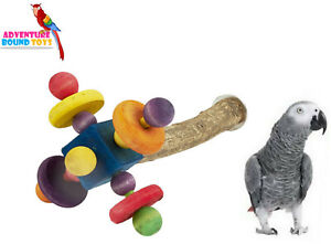 LARGE 35CM CHUNKY PARROT SPINNING PERCH CAGE TOY AFRICAN GREY AMAZON 4972