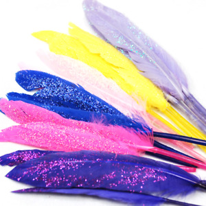 15 x Glitter Duck Feathers 10cm Craft Embellishment Wedding