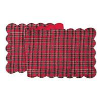 """C & F Quilted Christmas Red Tartan Plaid Table Runner, 14"""" x 51"""""""