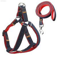 Pet Dog Puppy Leash Denim Harness Collar Adjustable Walking Rope Chain Supplies