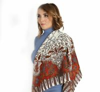 "Russian Authentic Pavlovo Posad shawl 100% wool 35x35"" (89x89cm) (586-0)"
