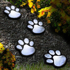 4 Solar Dog Cat Animal Paw Print Lights LED Lamp For Garden Path Outdoor Walkway