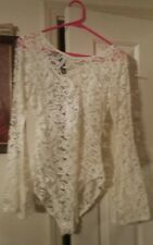 NO COMMENT Fashion Lace Snap Bodysuit Ivory Flair Sleeves size M FREE GIFT W/P