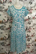*Vintage 80s* White turquoise Floral Summer Dress Plus Size 16 VGC