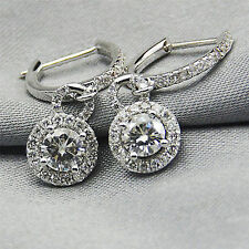 2Ct Round-Cut Diamond VVS1/D Halo Drop/Dangle Earrings 14K White Gold Finish