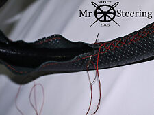 FOR TRIUMPH HERALD 60+PERFORATED LEATHER STEERING WHEEL COVER DARK RED DOUBLE ST