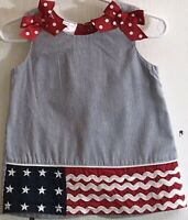Cre8ions Baby Girl's Sz 18M Dress Fourth of July Sundress Sleeveless Front Bows