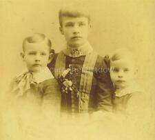 CABINET CARD PHOTO: Winsome ADOLESCENT GIRL w LG CORSAGE & 2 BROTHERS Mourning?