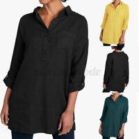 ZANZEA Womens Oversize V Neck Long Sleeve Cotton Blouses Tops Ladies Shirts Size