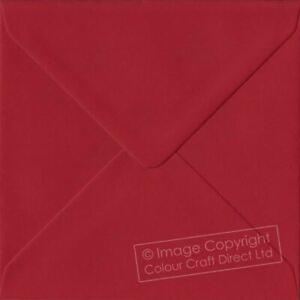 Scarlet Red S4 - 155 mm x 155 mm 100gsm Gummed Square Colour Envelopes