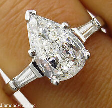 GIA 1.91CT ESTATE VINTAGE COLORLESS PEAR DIAMOND ENGAGEMENT WEDDING RING PLAT
