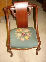 Antique Early 1900's Mahogany Parlor Side Chair with Carvings & Needlepoint