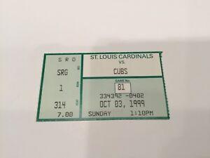 Willie McGee last game ticket Sosa Hr 63 McGwire Hr 65 St Louis Cardinals