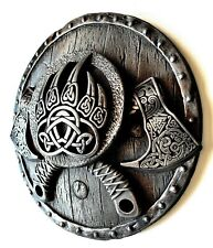Viking Axes on the Shield Iron Wall Sculpture Home Room Decor Birthday Gift
