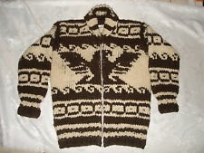 VTG GENUINE COWICHAN INDIAN HAND SPUN KNIT WOOL ZIP UP MENS CARDIGAN SWEATER M/L