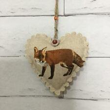 Vintage Fox Handmade Fabric Hanging Heart Decoration Shabby Chic Animal Gift