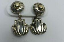 Kieselstein Cord Frog Flower Earrings 14K Gold & Sterling Silver Pierced