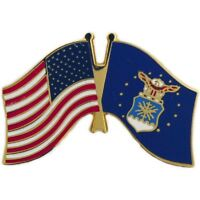 MILITARY HAT LAPEL PIN -  USA / AIR FORCE FLAG PIN - NEW