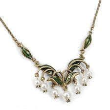 SWEET ROMANCE LILY OF THE VALLEY FLOWER & GLASS PEARLS NECKLACE